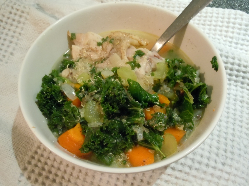 Chicken soup with quinoa and kale